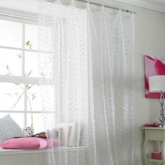 Popsicle White Sparkle Voile Curtain Panel