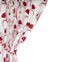 Leiden Floral Red & White Voile Curtain Panel