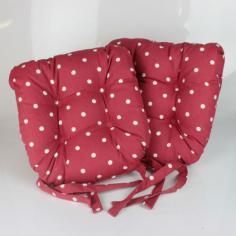Dotty Tie On Seat Pad - Red