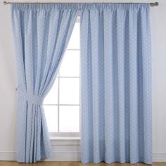 Dotty Blue Thermal Blackout Curtains.