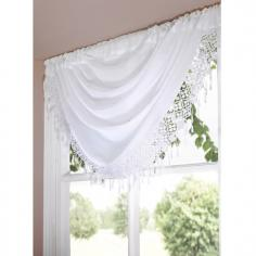 Macrame Daisy White Voile Swag
