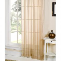 Beige Slot Top Voile Curtain Panel