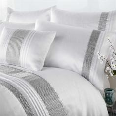 Kimberley White & Silver Diamante Duvet Cover Set