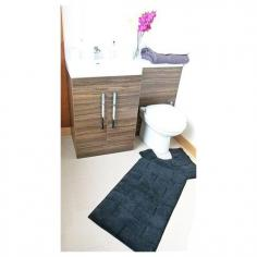Luxury 100% Cotton Wave Design Bath Mat Set Black