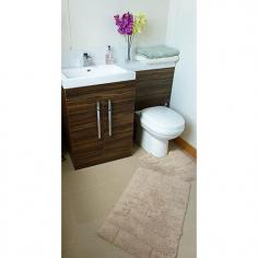 Luxury 100% Cotton Wave Design Bath Mat Set Beige