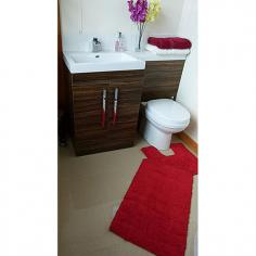 Luxury 100% Cotton Wave Design Bath Mat Set Red