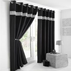 Diamante Eyelet Ring Top Fully Lined Curtains Black