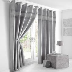 Diamante Eyelet Ring Top Fully Lined Curtains Silver