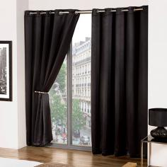 Cali Eyelet Ring Top Thermal Blackout Curtains - Black