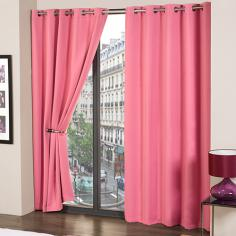 Cali Eyelet Ring Top Thermal Blackout Curtains Pink