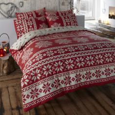 Alpine Snowflake Red Thermal Flannelette Duvet Cover Set