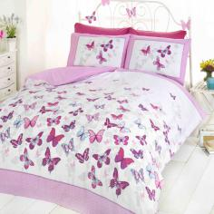 Flutter Pink Butterfly Duvet Cover Set