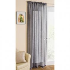 Silver Glitter Voile Curtain Panel
