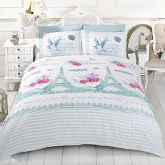 La Belle Paris Duck Egg Blue Duvet Cover Set