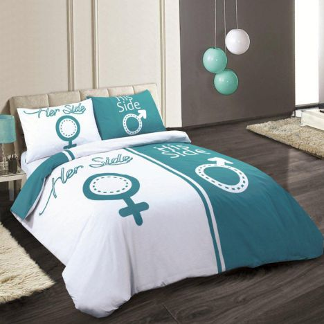 His Side Her Side Duvet Cover Teal Amp White Tonys Textiles