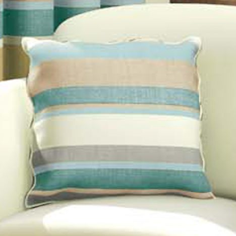 duck egg blue cream striped cushion cover tonys textiles. Black Bedroom Furniture Sets. Home Design Ideas