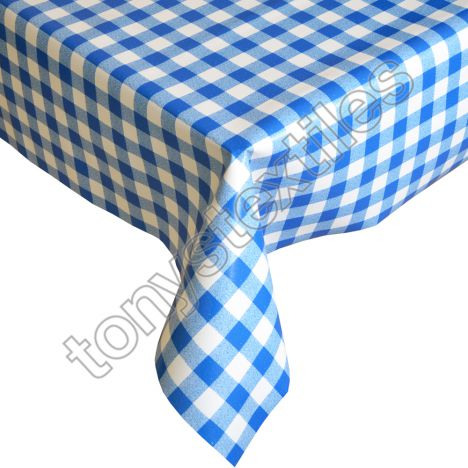 Gingham Check Blue Plastic Vinyl Tablecloth