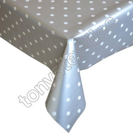 Polkadot Silver White Plastic Vinyl Tablecloth
