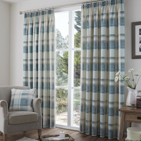 Check | Tape top | Lined | Curtains | Red | Stripe | Tony's ...
