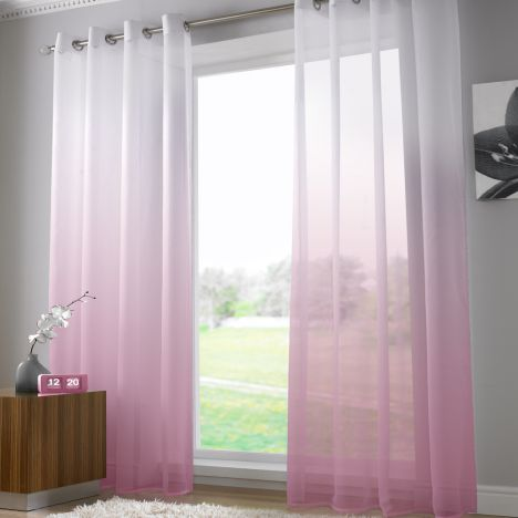 Harmony Dusky Pink Voile Curtain Panel Ring Top
