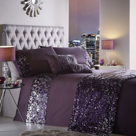 Dazzle Sequin Purple Duvet Cover Tonys Textiles