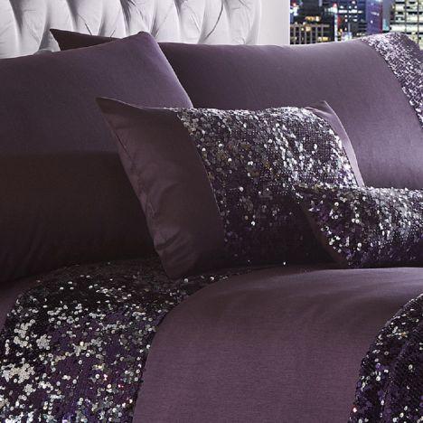 Dazzle Sequin Purple Boudoir Cushion Tonys Textiles