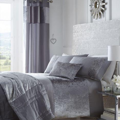 Boulevard Silver Grey Crushed Velvet Quilt Duvet
