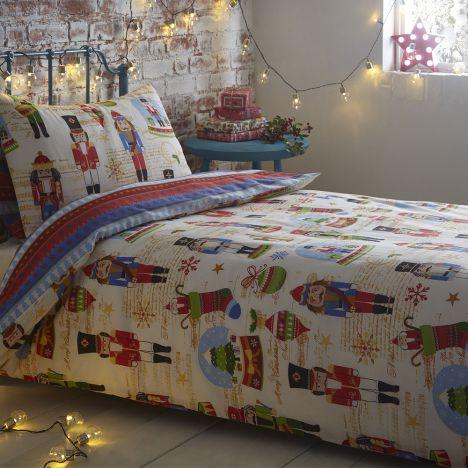 Nutcracker Christmas Santa Festive Quilt Duvet