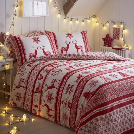 Iceland Red Christmas Duvet Cover Tonys Textiles