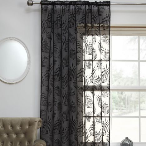 Fern Leaf Voile Curtain Panel - Black