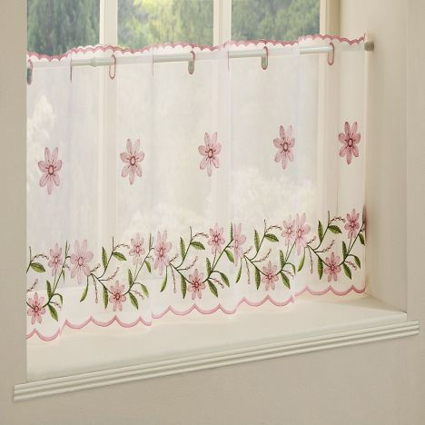 Daisy Embroidered Caf� Net Panel - Pink