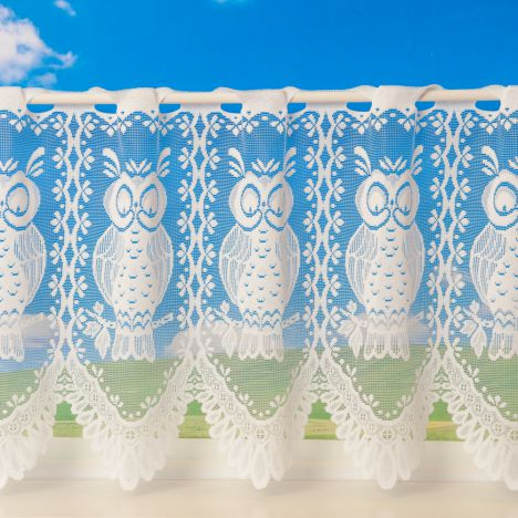 Owl Design Cafe Net Curtain - White