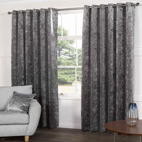 Kensington Crushed Velvet Fully Lined Ring Top Curtains - Steel Silver Grey
