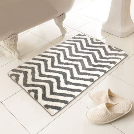 Luxury 100% Cotton Chevron Design Bath Mat/Rug - Silver Grey