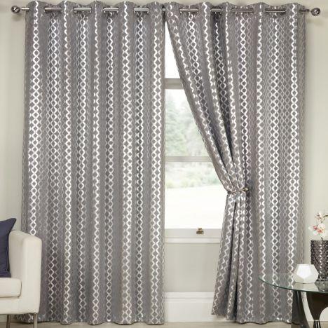 lusaka geometric glitter eyelet thermal blackout curtains silver grey