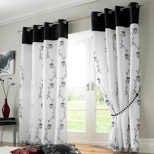 Ring Top Lined Voile Curtains Black White Tony S