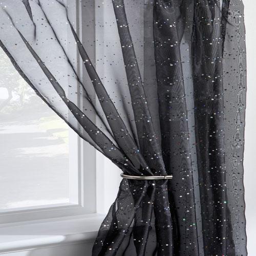 Disco Sparkle Black Voile Curtain Panel Tonys Textiles