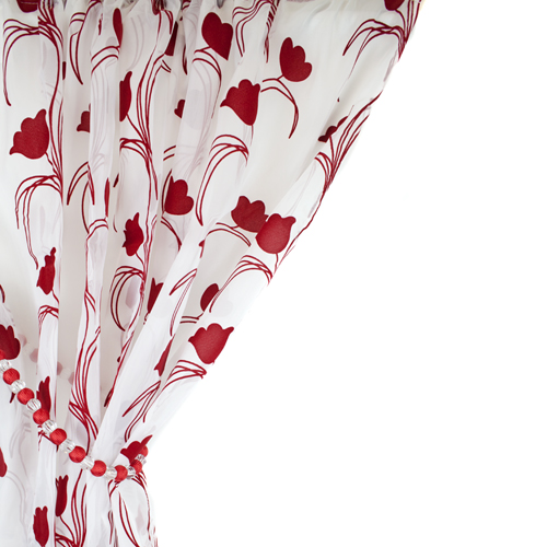 Leiden Floral Red Amp White Voile Curtain Panel Tonys Textiles
