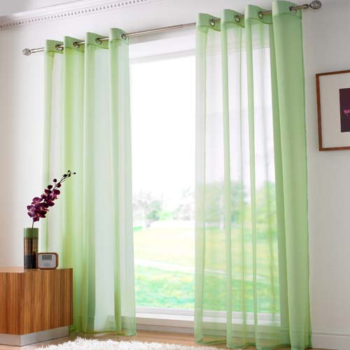 Lime Green Eyelet Voile Curtain Panel