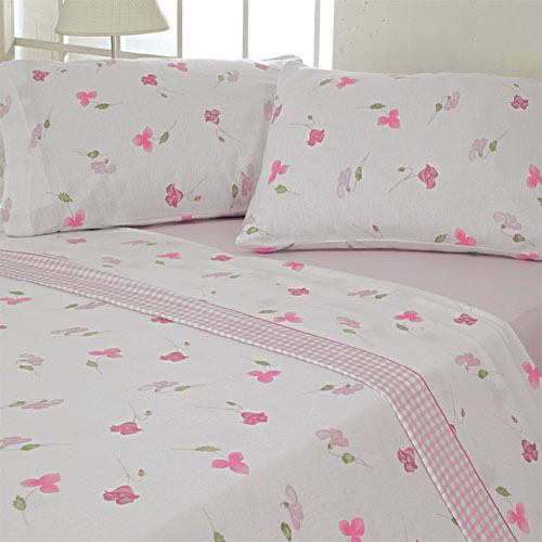 100 Cotton Flannelette Pink Sheet Set Thermal