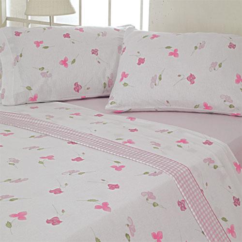 100 Cotton Flannelette Pink Sheet Set Thermal