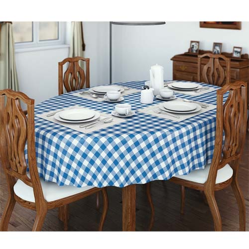 Pvc Wipe Clean Vinyl Table Cloth Gingham Check Blue