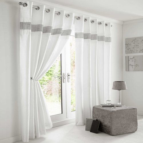 Diamante Eyelet Lined Curtains White Silver