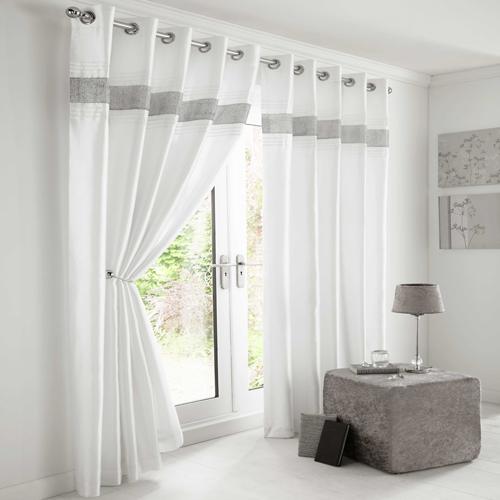 Diamante Eyelet Lined Curtains White Silver | Tony's ...