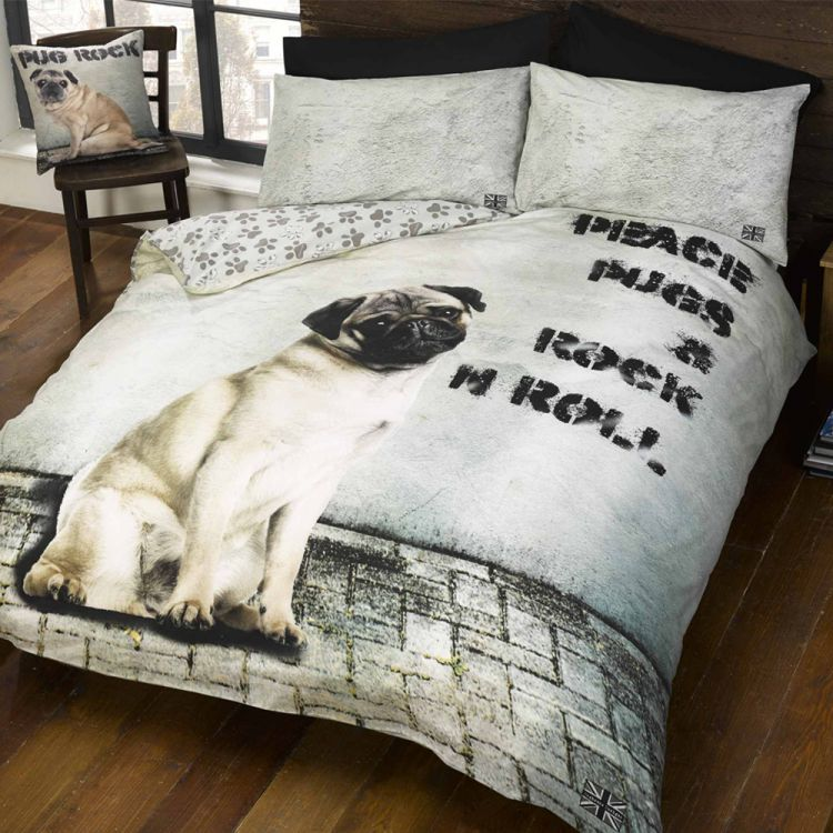 Rock N Roll Pug Duvet Cover Set Tonys Textiles