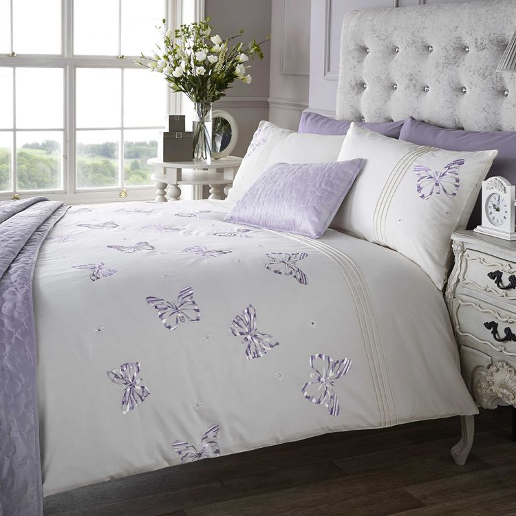 Embroidered Butterfly Lilac Quilt Cover Tony S