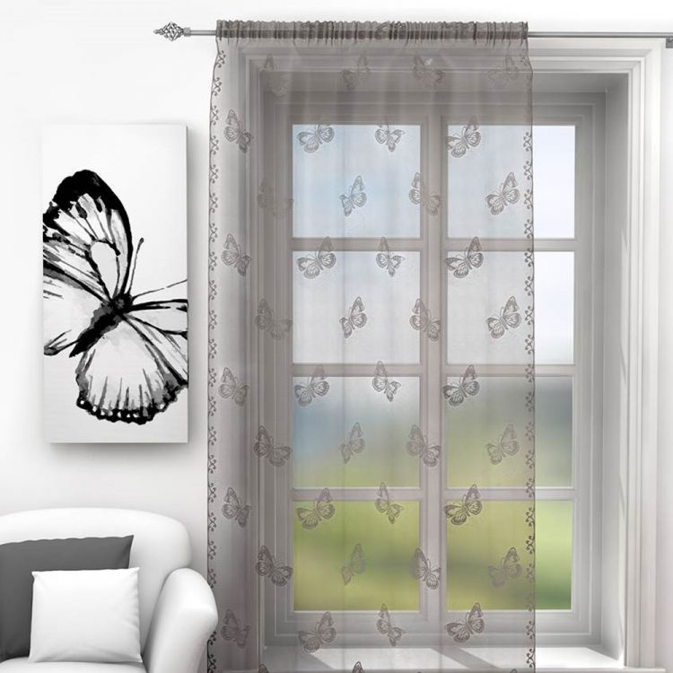 Silver Grey Butterfly Voile Curtain Panel