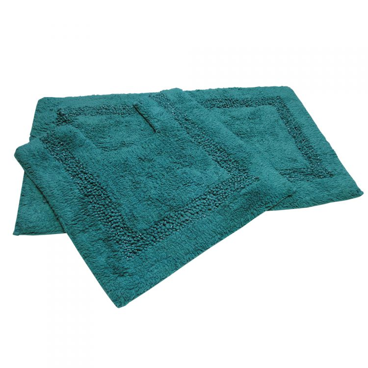 100 cotton bath set teal sparkle tonys textiles for Teal bath sets