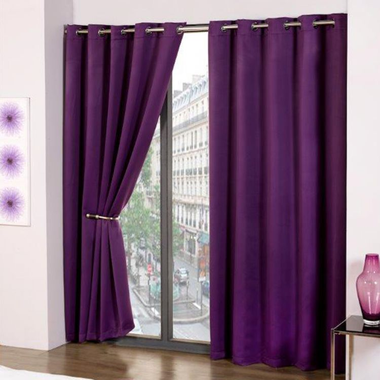 Thermal Eyelet Blackout Curtains Purple | Tony's Textiles