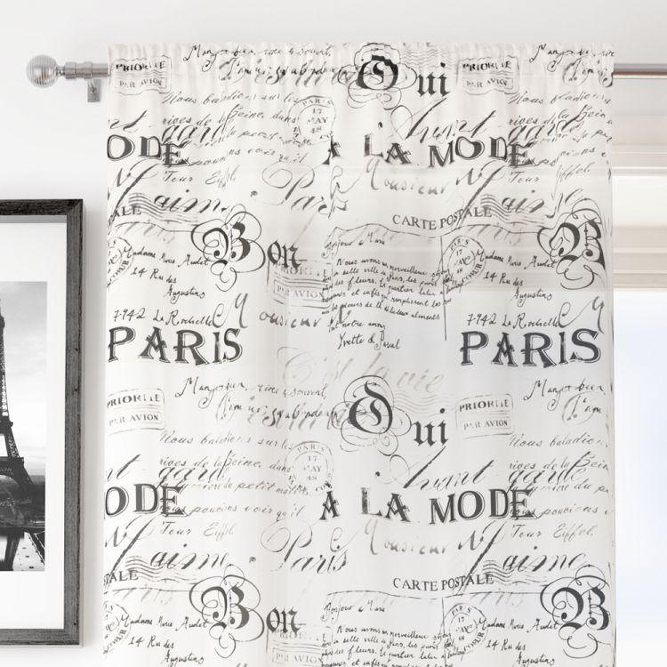 Paris Script White Voile Curtain Panel Tony S Textiles